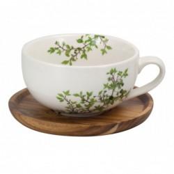 Teetasse Natura mit Holz Untersetzer(1 Stk) - seitlich