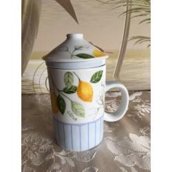 Deckel Teebecher mit Zitronen Motiven mit Sieb
