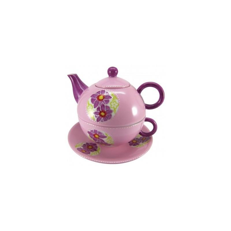 Hand bemaltes Tea for One Set mit Blumen aus Porzellan