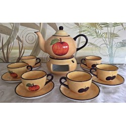großes Teekannenset Toscana bestehend aus Teekanne, Stövchen und 6 Stück Tassen mit Untersetzer