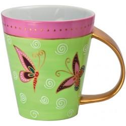 Teebecher aus Porzellan mit Schmetterlingen und goldenem Henkel