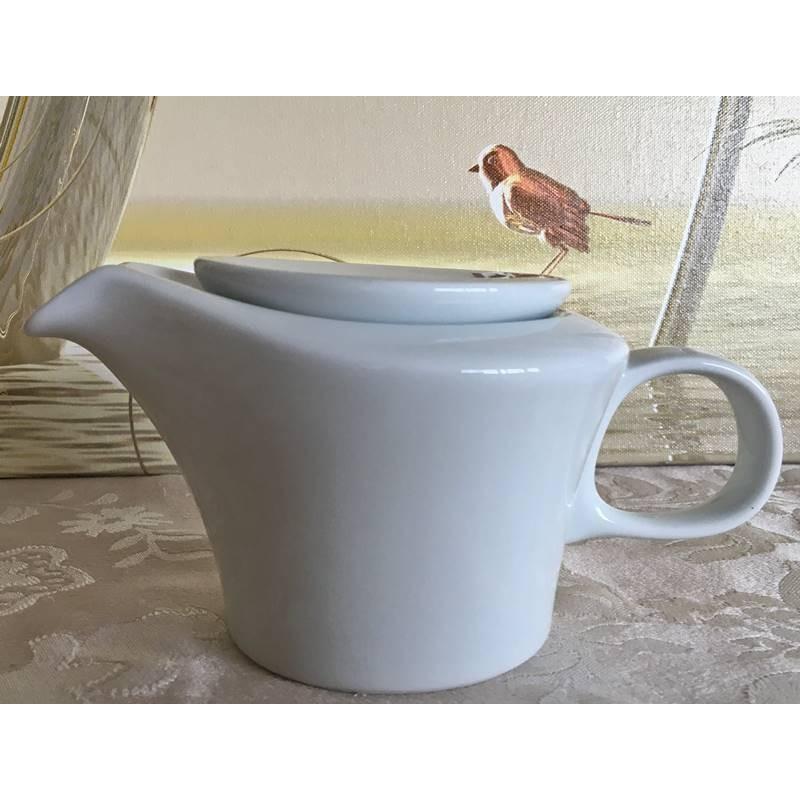 Kleine Teekanne aus Porzellan mit großem Henkel und flachem Deckel mit 400 ml Fassungsvermögen