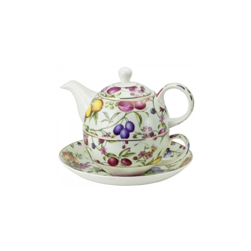 Tea for One Set mit Früchtemotiven und mit goldenem Rand