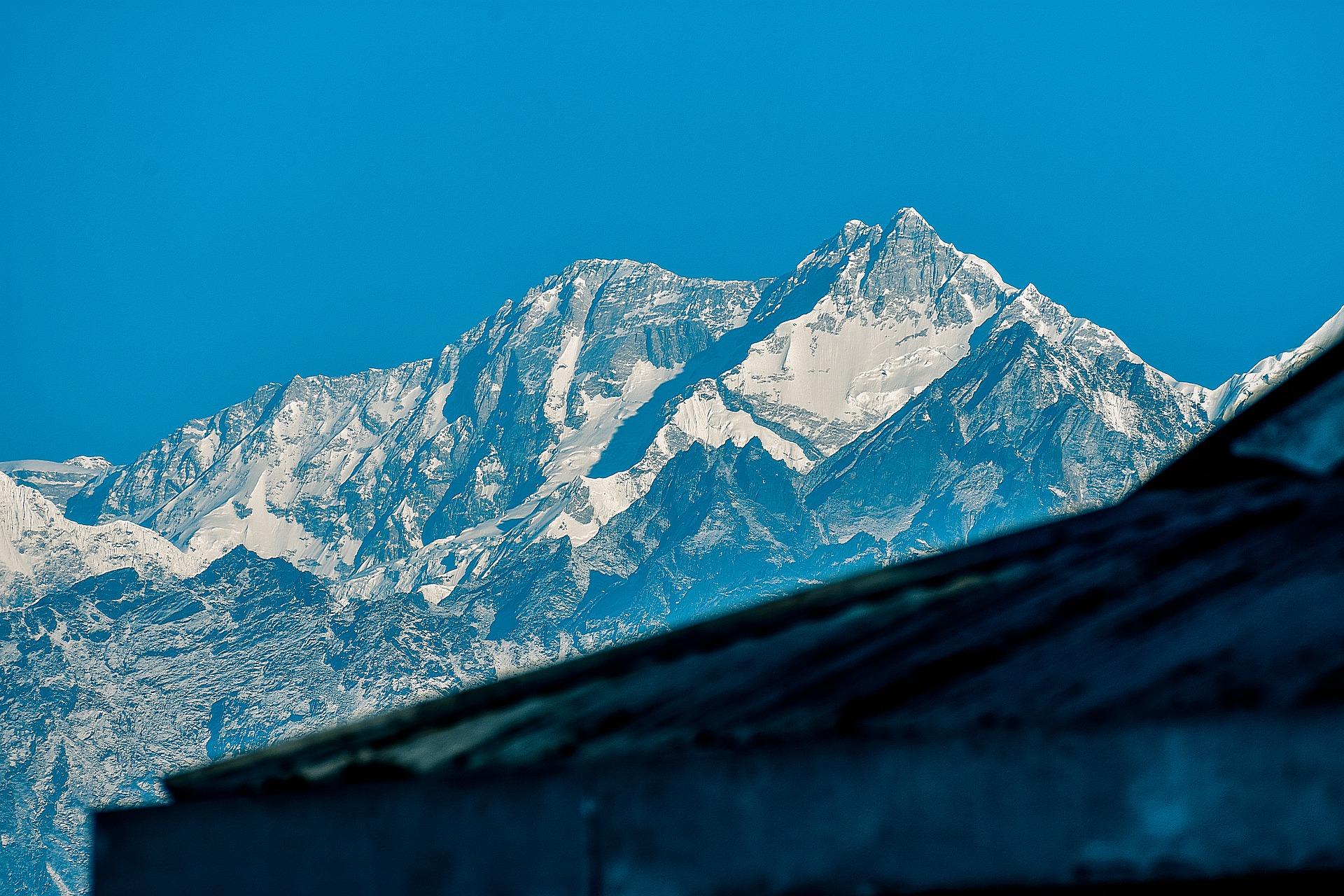 Foto des Kangchendzönga oder auch Kanchenjunga genannt in Norden Sikkims in Indien