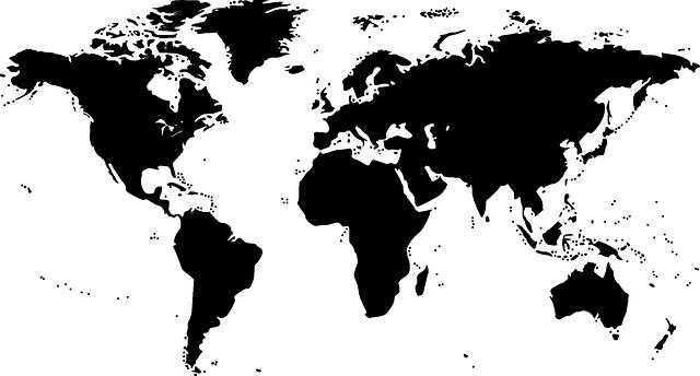 Weltkarte in Schwarz Weiß